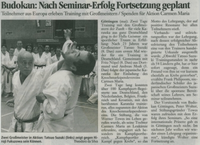 Budokan: Nach Seminar-Erfolg Fortsetzung geplant